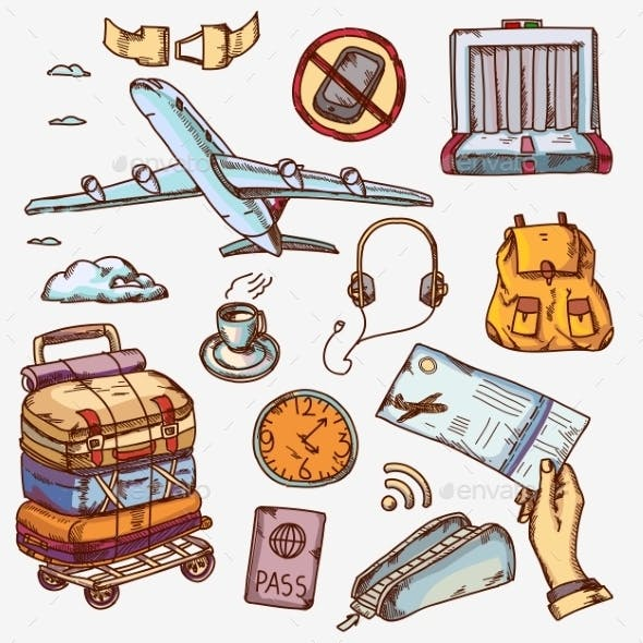 Airport And Air Travel Icons Concept Traveling