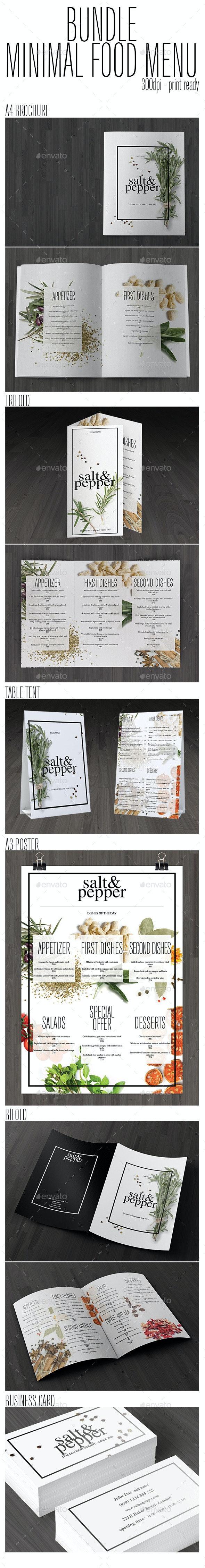 Bundle Minimal Food Menu - Food Menus Print Templates
