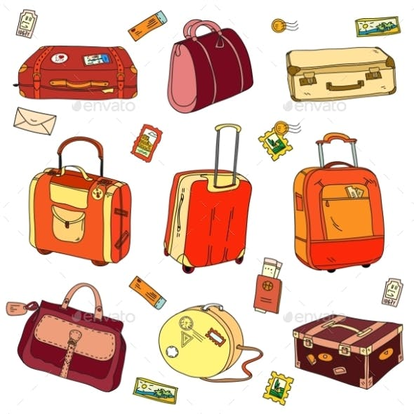Collection Of Vintage Travel Suitcases