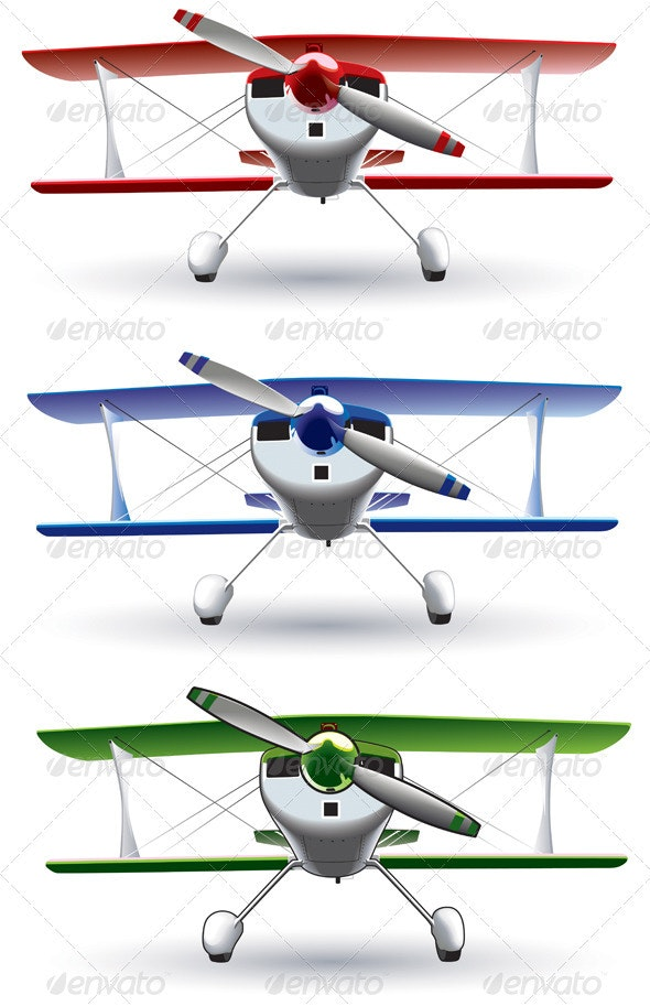 Sporting Bbiplane Front - Objects Vectors