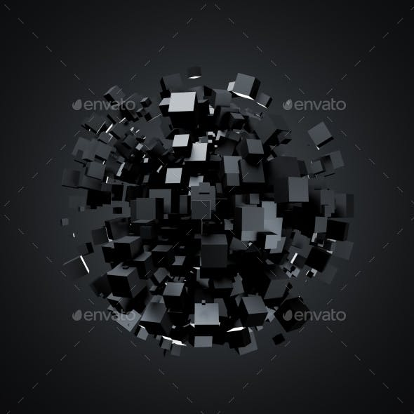 Abstract 3D Rendering Of Black Cubes
