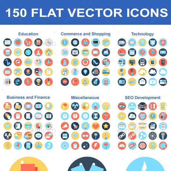 150 Flat Vector Icons