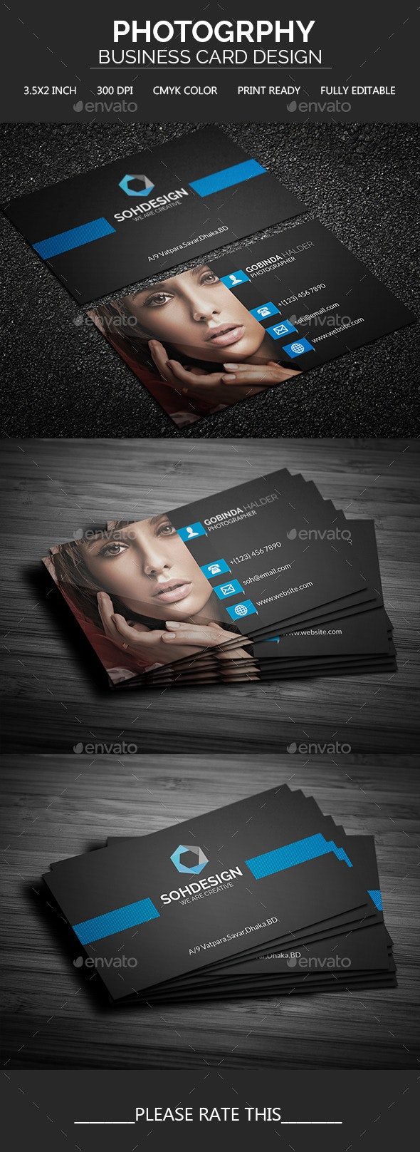 Photography Business Card Template - Business Cards Print Templates