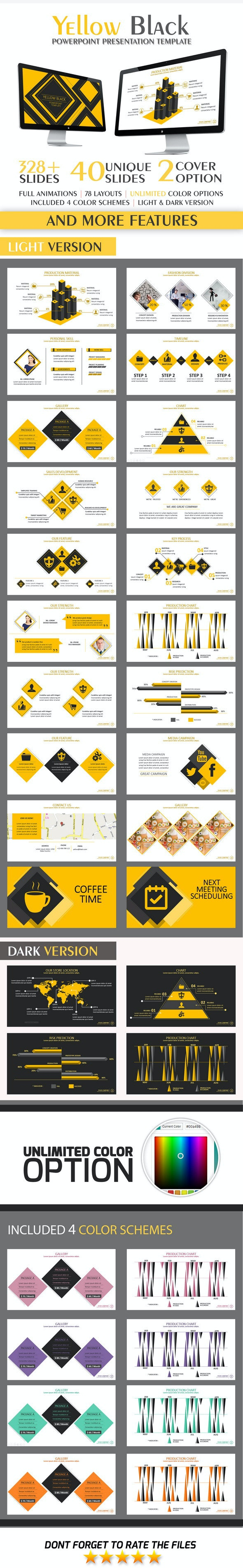 Yellow Black PowerPoint Template - Business PowerPoint Templates