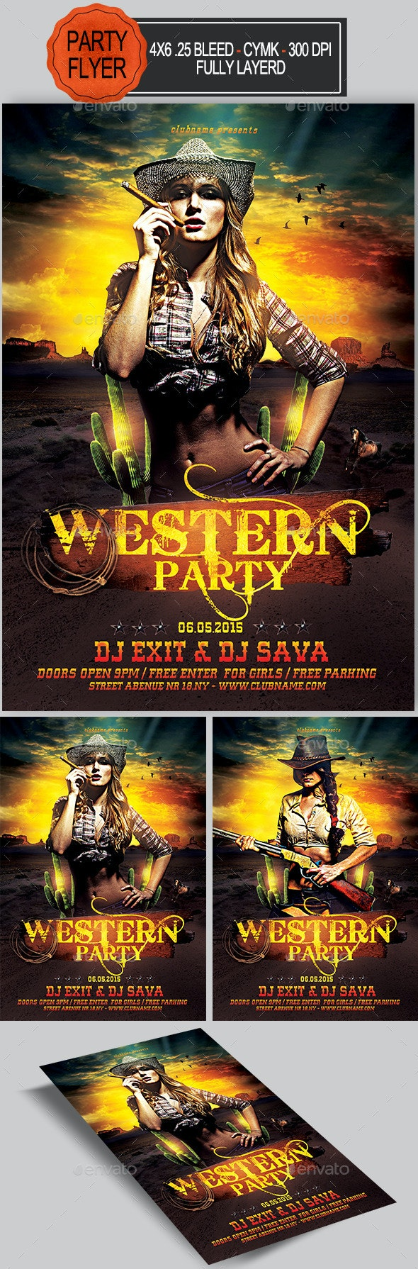 Western Party Flyer   - Clubs & Parties Events