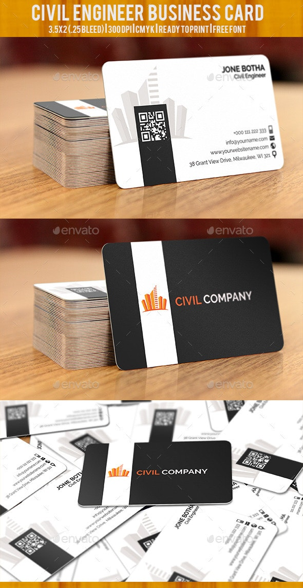 Civil Engineer Business Card By Graphicspixels Graphicriver