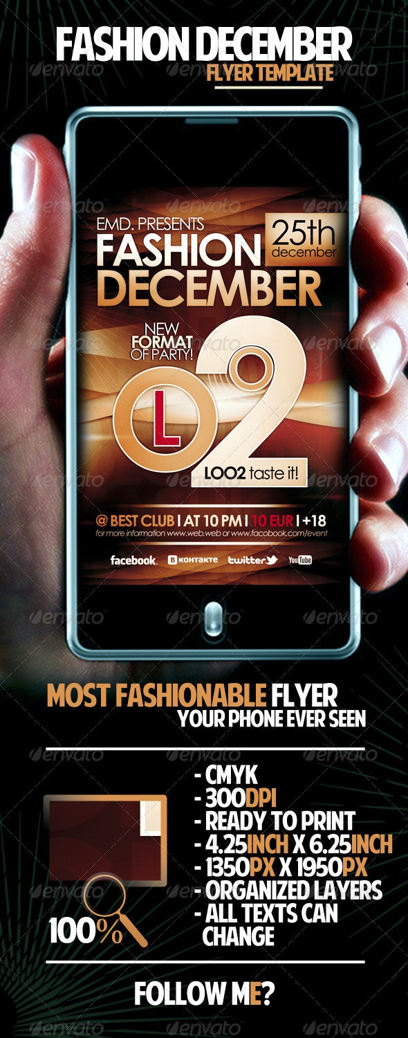 Fashion December Flyer Template - Clubs & Parties Events