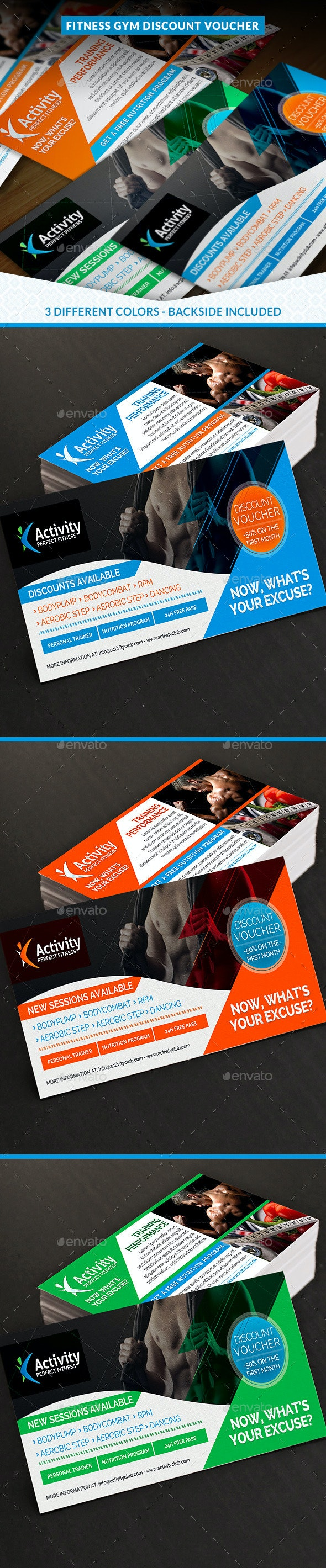 Fitness and Gym Discount Voucher - Cards & Invites Print Templates