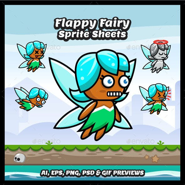 Flappy Fairy Game Character Sprite Sheets