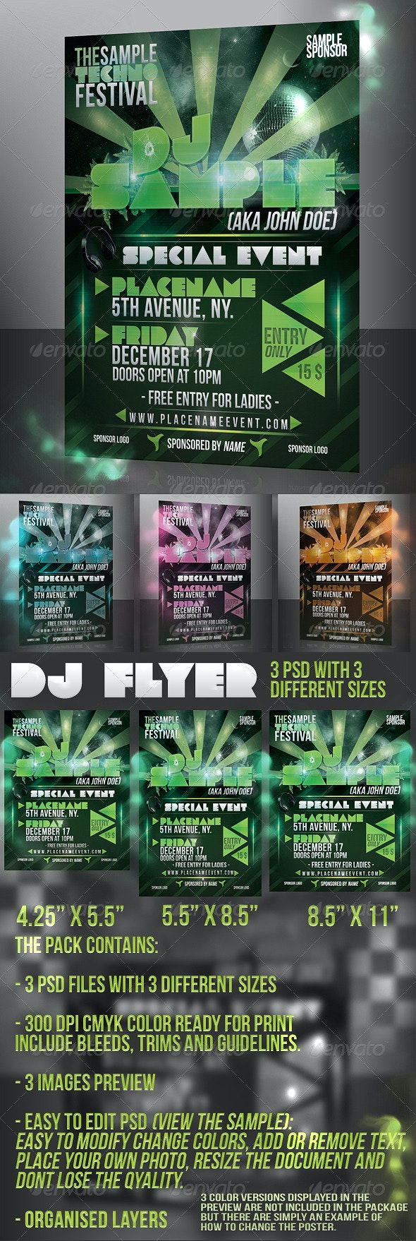 DJ Disco Event / Nightclub / Party Flyer - Clubs & Parties Events