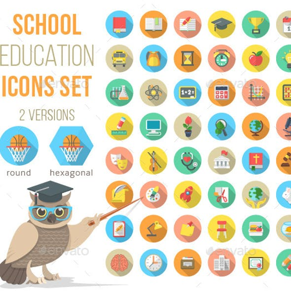 Flat School Subjects Icons with Long Shadows