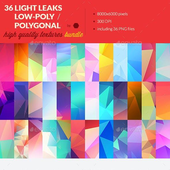 36 Light Leak Polygonal Background Textures Bundle