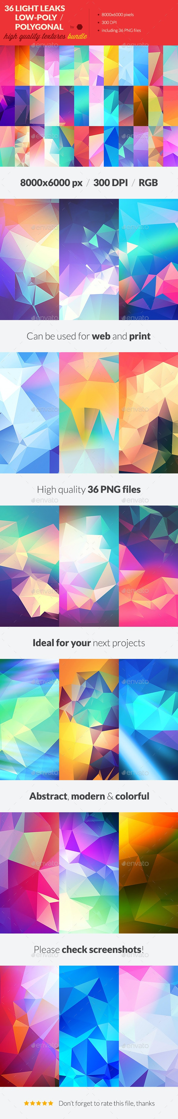 36 Light Leak Polygonal Background Textures Bundle - Abstract Backgrounds