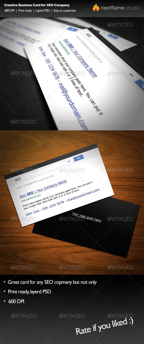 Creative Business Card for SEO Company - Creative Business Cards