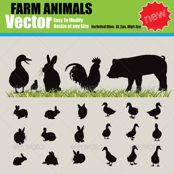 Vector Farm Animals Silhouette Set