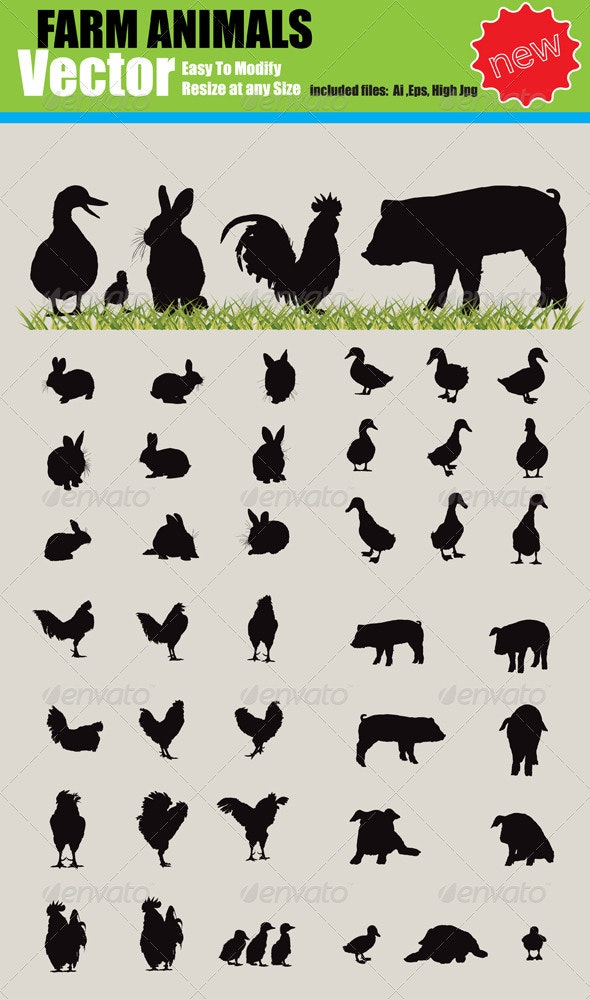 Vector Farm Animals Silhouette Set - Animals Characters