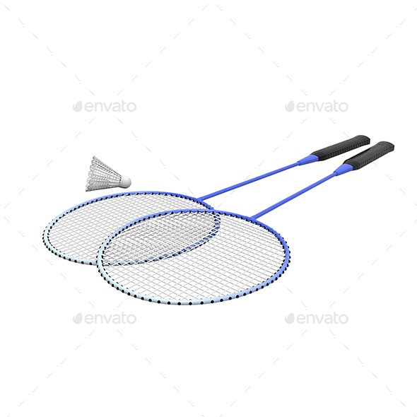 Badminton Rackets and Shuttlecock Isolated  - Objects 3D Renders