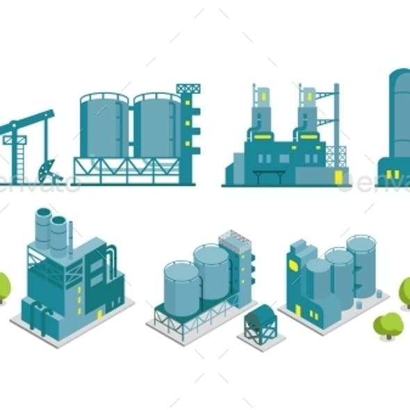 Set of Isometric and 2D Factory Illustrations
