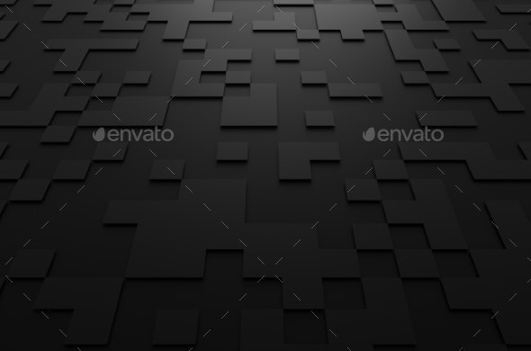 3D Rendering Of Futuristic Surface With Squares - 3D Backgrounds