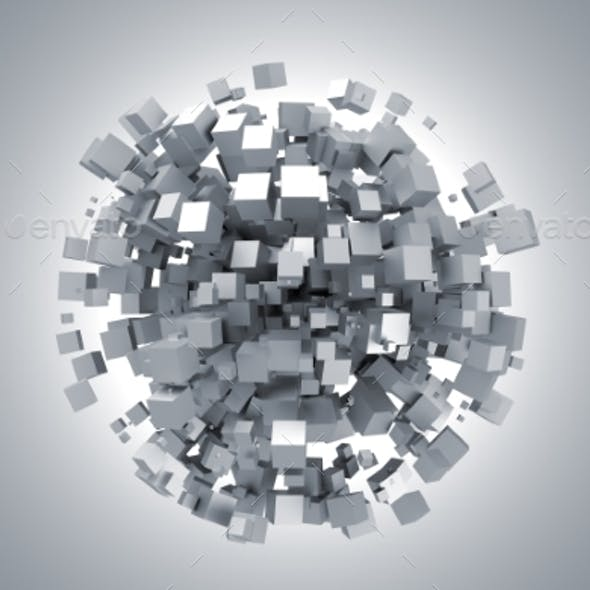 Abstract 3D Rendering Of White Cubes