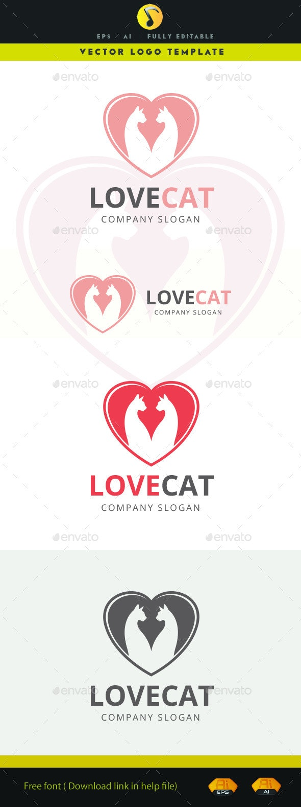 Love Cat - Animals Logo Templates