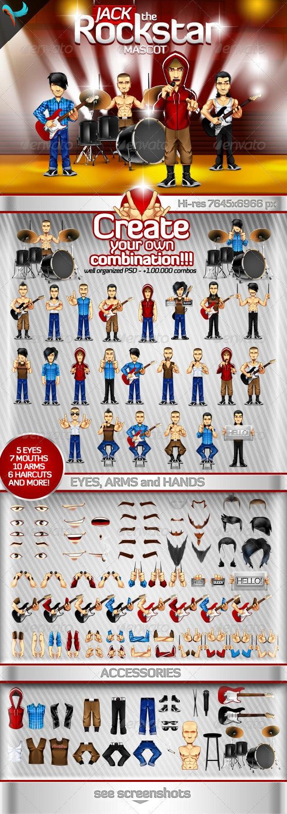 Editable Rockstar - Rockband Mascot - Characters Illustrations