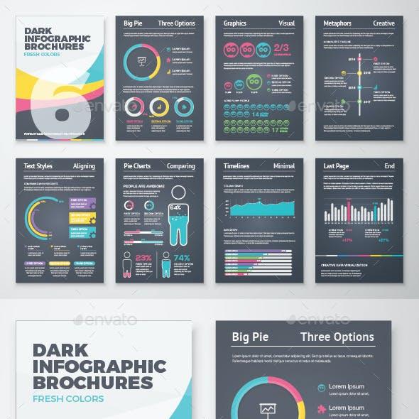 Dark Infographic Brochure Vector Elements Kit 6