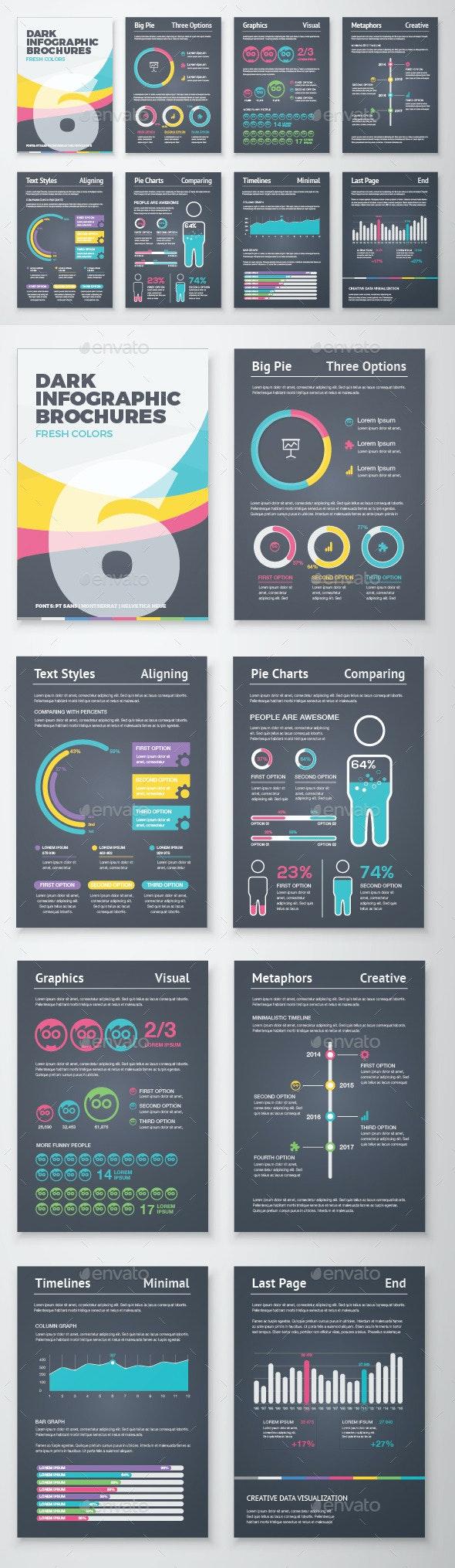 Dark Infographic Brochure Vector Elements Kit 6 - Infographics