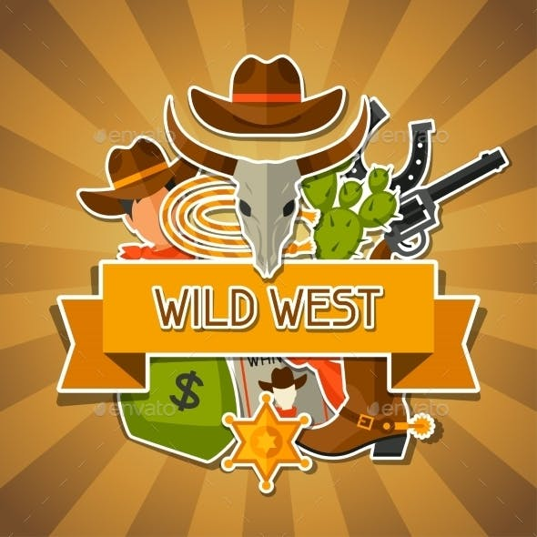 Wild West Background with Cowboy Objects