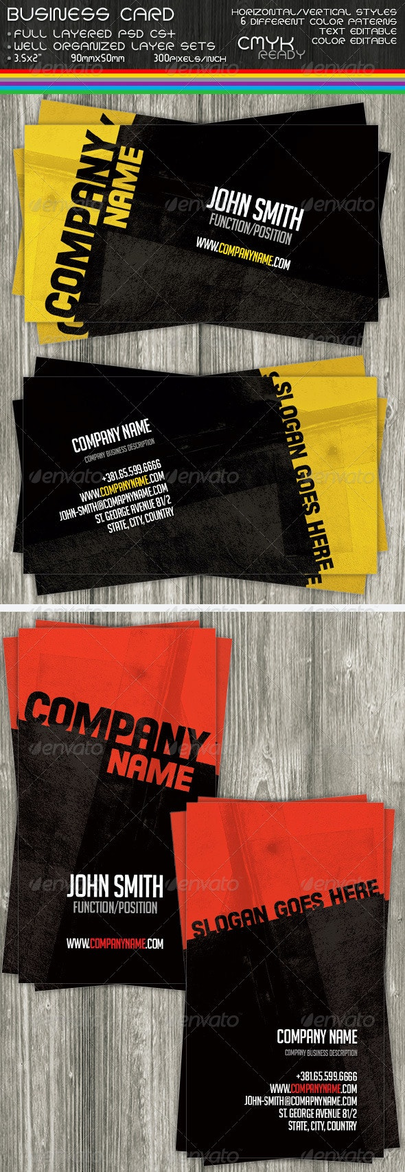 Company Business Cards - Grunge Business Cards