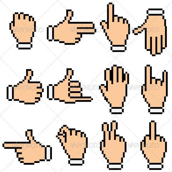 Retro Pixelated Hands - Characters Vectors