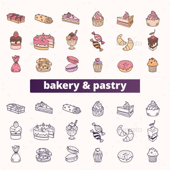 Bakery, Pastry and Sweet Food Icons.