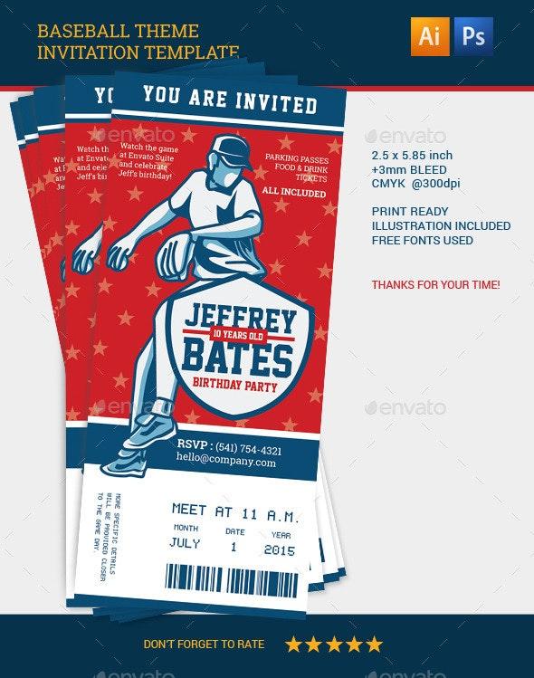 Baseball Theme Invitation Template