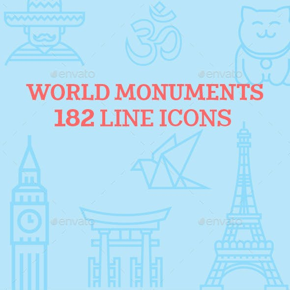 World Monuments Line Icons