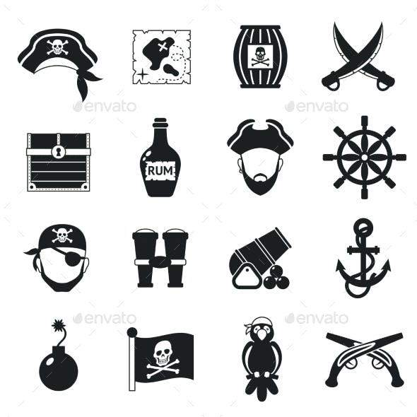 Pirate Icons Set Black