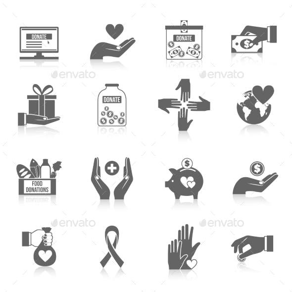 Charity Icon Black Set