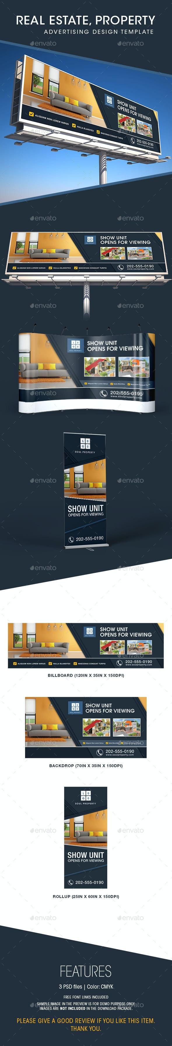 Real Estate - Billboard, Backdrop & Rollup Design - Signage Print Templates