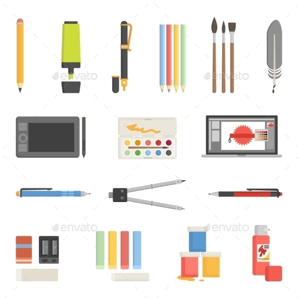 Drawing Tools Icons Flat Set - Man-made Objects Objects
