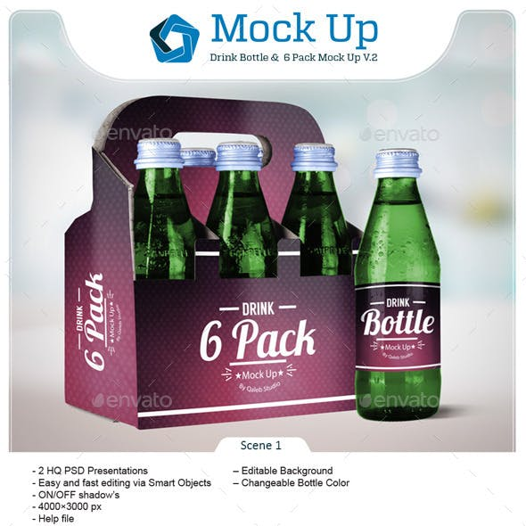 Drink Bottle &  6 Pack Mock Up V.2