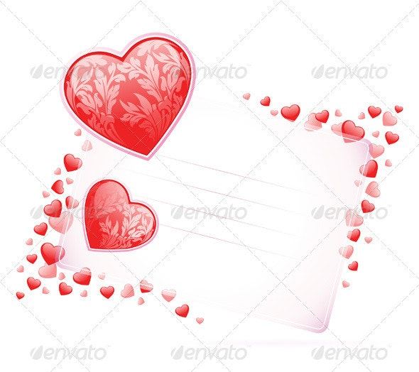 Valentines Day Card with Hearts - Valentines Seasons/Holidays
