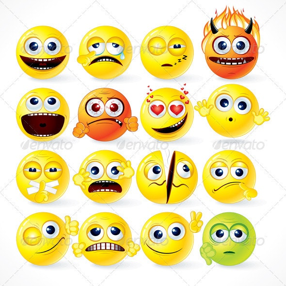 Collection of Emoticons - Characters Vectors
