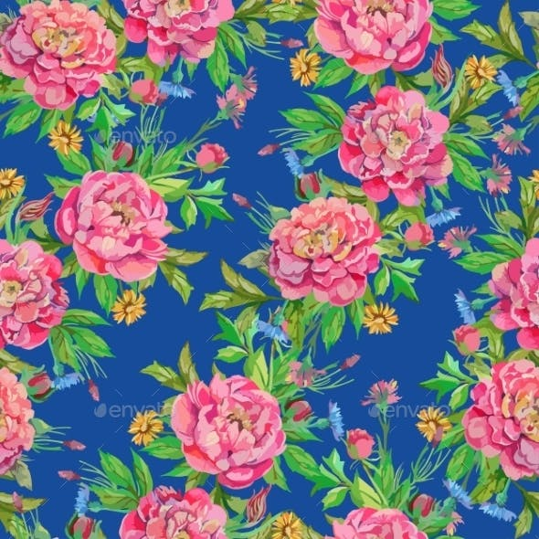 Seamless Pattern of Peony Flowers
