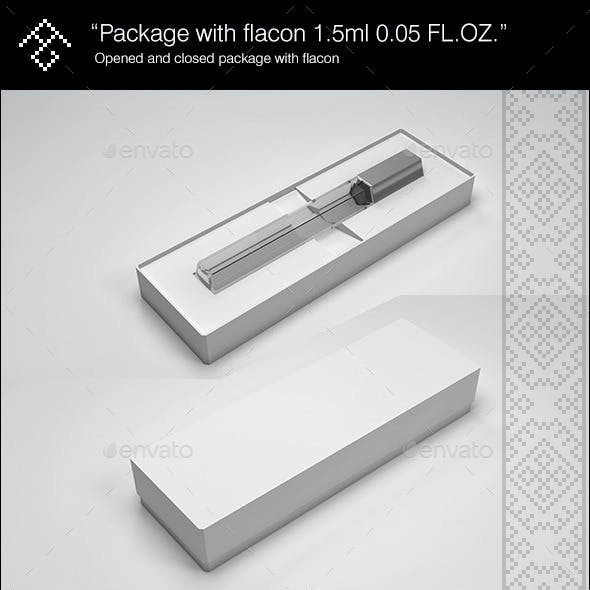 Box with Flacon Mock-Up 1.5ml 0.05 FL.OZ.