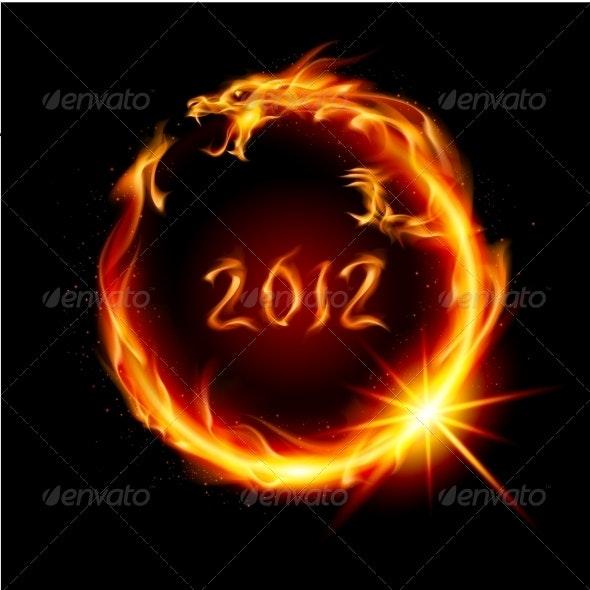 Red Fiery Dragon - New Year Seasons/Holidays