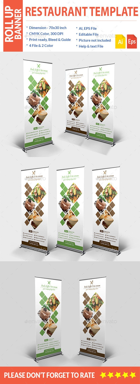 Food Roll up Banner - Signage Print Templates