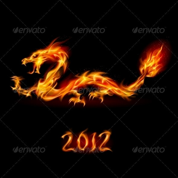 Abstract Fiery Dragon - New Year Seasons/Holidays