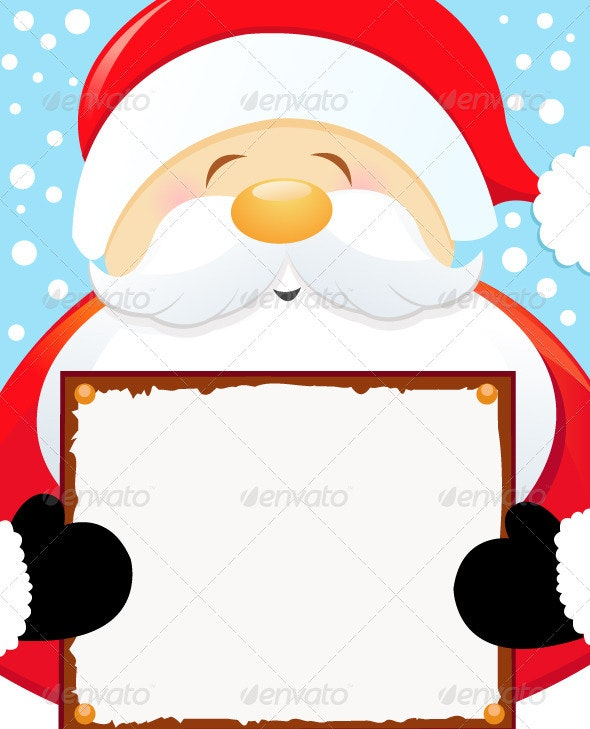 Santa Holding Blank Sign - People Characters