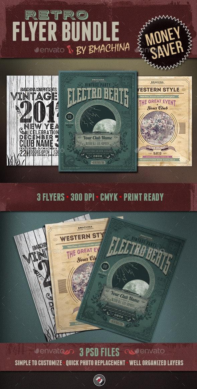 Retro Flyer Bundle - Events Flyers