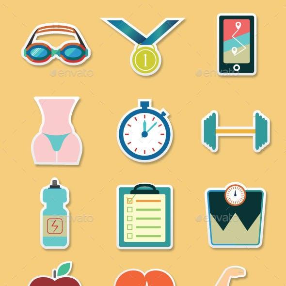 Fitness sticker icons set