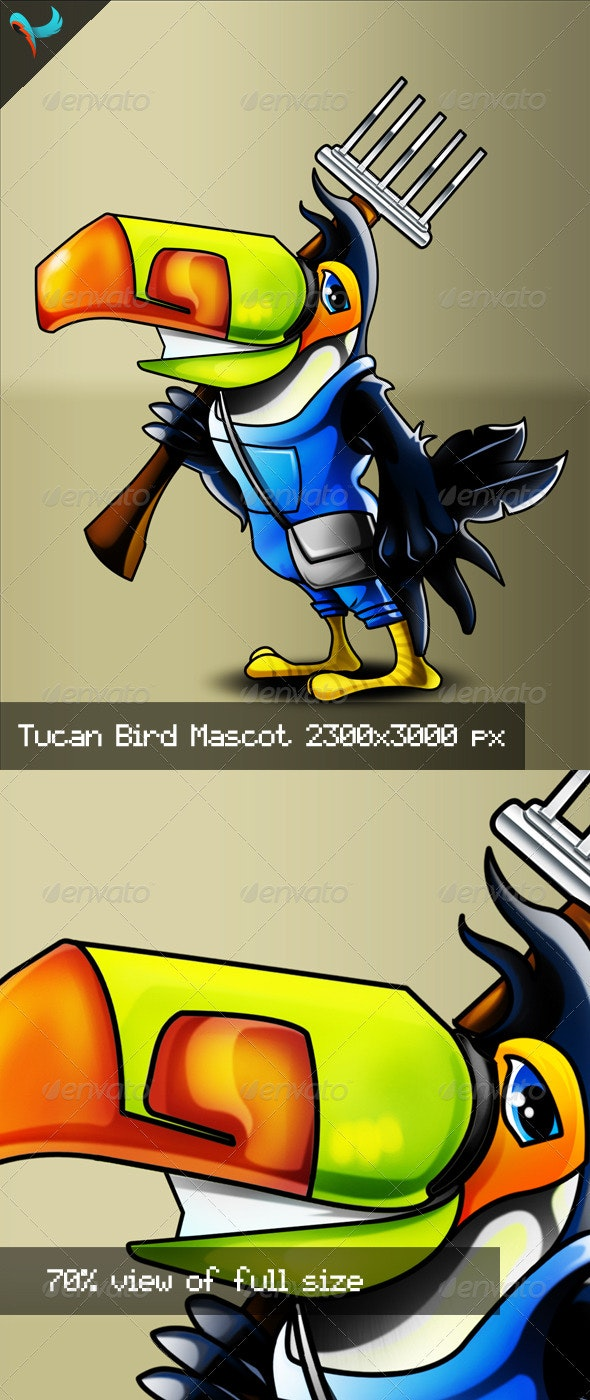 Farmer Tucan Bird PSD Mascot - Characters Illustrations
